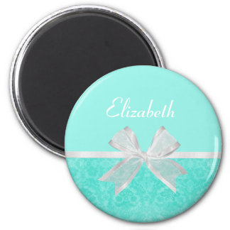 Girly Aqua Turquoise Damask White Ribbon With Name 2 Inch Round Magnet
