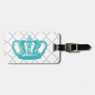 GIRLY AQUA VINTAGE CROWN GREY QUATREFOIL PATTERN LUGGAGE TAG