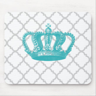 GIRLY AQUA VINTAGE CROWN GREY QUATREFOIL PATTERN MOUSE PAD