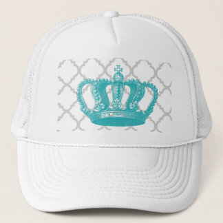 GIRLY AQUA VINTAGE CROWN GREY QUATREFOIL PATTERN TRUCKER HAT