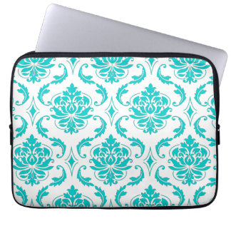 Girly Aqua Vintage Damask Pattern Laptop Sleeve