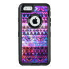 Girly aztec pattern pink teal nebula space OtterBox defender iPhone case