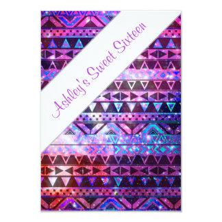 Girly Aztec Pattern Pink Teal Nebula Sweet 16 Card