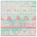 Girly Aztec Pattern Pink Turquoise Watercolor Fabric
