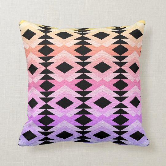 Girly Aztec Pink/Black Throw Pillow Cushion