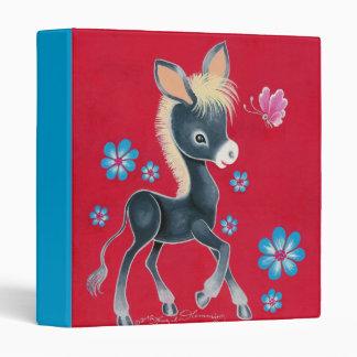 Girly Baby Donkey With Flowers Vinyl Binders