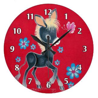 Girly Baby Donkey With Flowers Wall Clocks