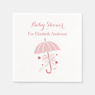 Girly Baby Shower Cute Pink Umbrella With Bow Paper Napkin