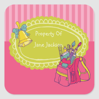 Girly Backpack Personalized Bookplate Sticker