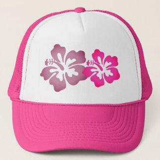 Girly Beachy Hibiscus Flowers Hot Pink Trucker Hat