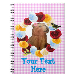 Girly Bear Cub Flowers Gingham Spiral Notebook