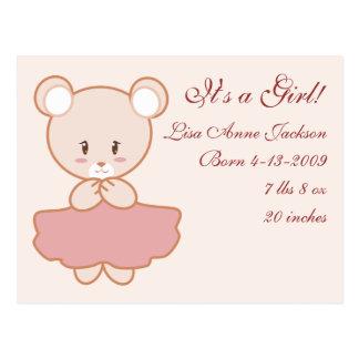 Girly Bear Postcard
