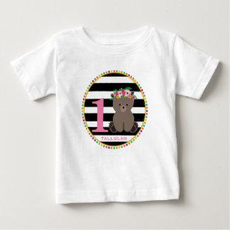 Girly Bear Stripes Birthday Shirt