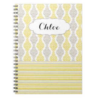 Girly Beautiful Damask & Striped Notebook
