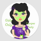 Girly Beauty Pamper Party Girls Only Theme Classic Round Sticker