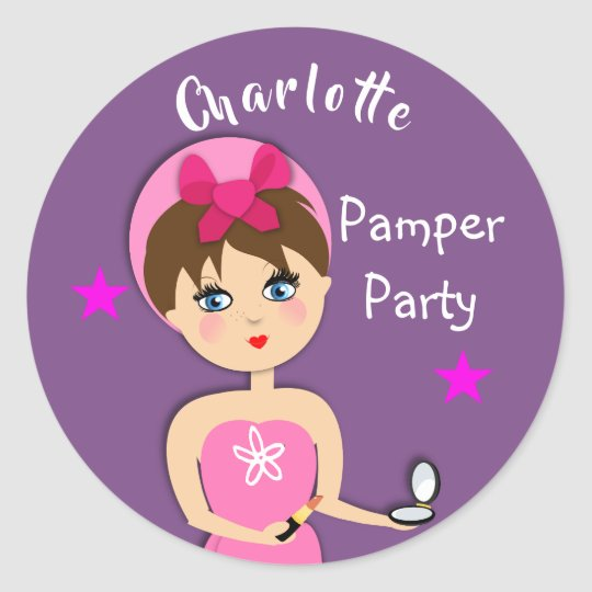 Girly Beauty Pamper Party Personalized Classic Round Sticker