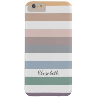Girly Beige Blue Wide Horizontal Stripes With Name Barely There iPhone 6 Plus Case