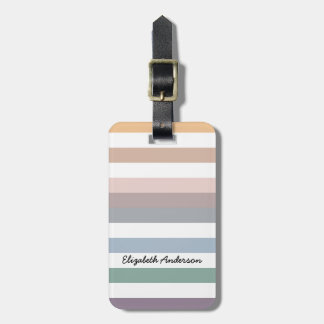 Girly Beige Blue Wide Horizontal Stripes With Name Luggage Tag