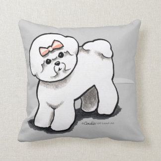 Girly Bichon Frise Throw Pillow