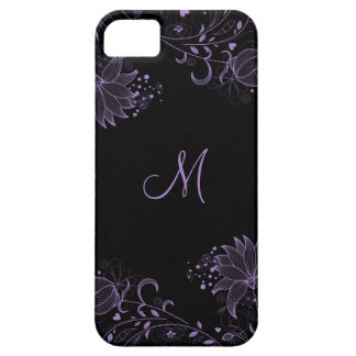 Girly Black and Purple Sketched Floral iPhone5 iPhone 5 Cover