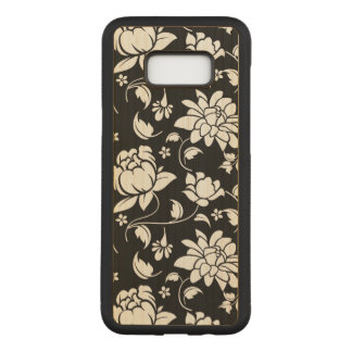 Girly Black And White Vintage Flowers Pattern Carved Samsung Galaxy S8+ Case