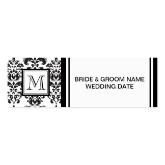 GIRLY BLACK DAMASK PATTERN 2 YOUR INITIAL BUSINESS CARD