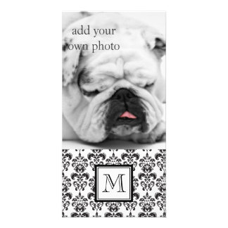 GIRLY BLACK DAMASK PATTERN 2 YOUR INITIAL PHOTO CARD TEMPLATE