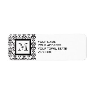GIRLY BLACK DAMASK PATTERN 2 YOUR INITIAL RETURN ADDRESS LABEL
