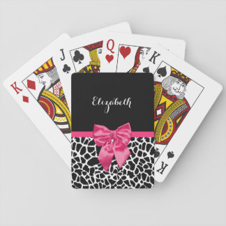 Girly Black Giraffe Animal Print Cute Hot Pink Bow Playing Cards