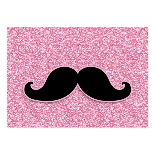 GIRLY BLACK MUSTACHE PINK GLITTER PRINTED BUSINESS CARD