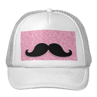 GIRLY BLACK MUSTACHE PINK GLITTER PRINTED HATS