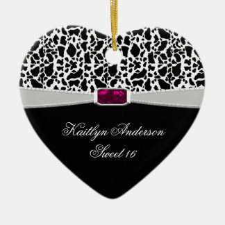 Girly Black White and Pink Jewel Sweet 16 Keepsake Ceramic Ornament