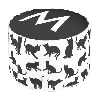 Girly Black & White Cats Monogram Pouf