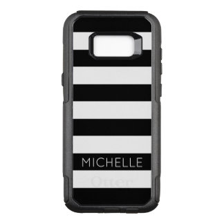 Girly Black White Stripes Custom Name Monogram OtterBox Commuter Samsung Galaxy S8+ Case