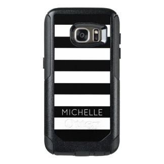 Girly Black White Stripes Custom Name Monogram OtterBox Samsung Galaxy S7 Case