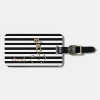 Girly, Black, White Stripes,Glittery Cat Luggage Tag