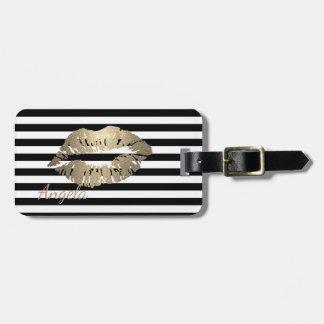 Girly, Black, White Stripes,Glittery Lips Luggage Tag
