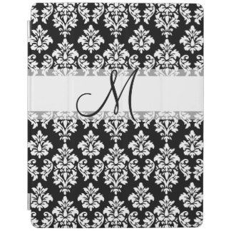 Girly Black White Vintage Damask Your Monogram iPad Cover