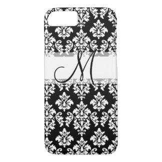 Girly Black White Vintage Damask Your Monogram iPhone 8/7 Case