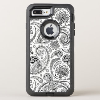 Girly Black & White Vintage Paisley Pattern OtterBox Defender iPhone 8 Plus/7 Plus Case