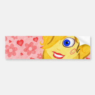 Girly Blond with Flowers and Hearts Bumper Sticker