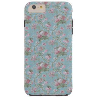 Girly Blue and Pink Cottage Floral Tough iPhone 6 Plus Case