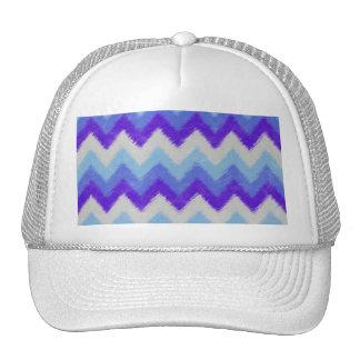 Girly Blue and White Bohemian Chevron Pattern Trucker Hat