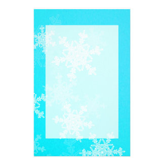 Girly blue and white Christmas snowflakes Customized Stationery