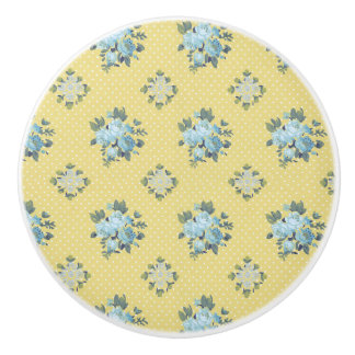 Girly Blue and Yellow Floral Ceramic Knob