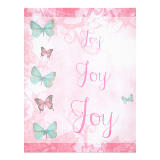 Girly Blue Butterflies Pink Leaves Joy Letterhead