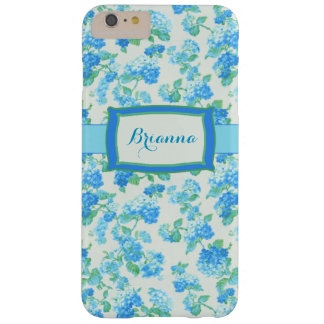 Girly Blue Floral Personalized Barely There iPhone 6 Plus Case