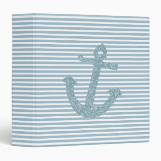 Girly Blue Glitter Nautical Anchor 3 Ring Binder