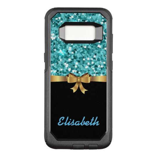 GIRLY BLUE glitter printed black GOLD BOW monogram OtterBox Commuter Samsung Galaxy S8 Case