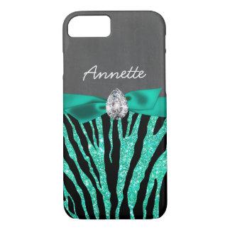 Girly Blue Glitter Zebra Ribbon Diamond Chalkboard iPhone 8/7 Case
